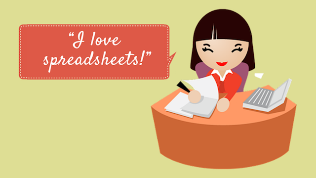 Woman with spreadsheets vs online accounting software