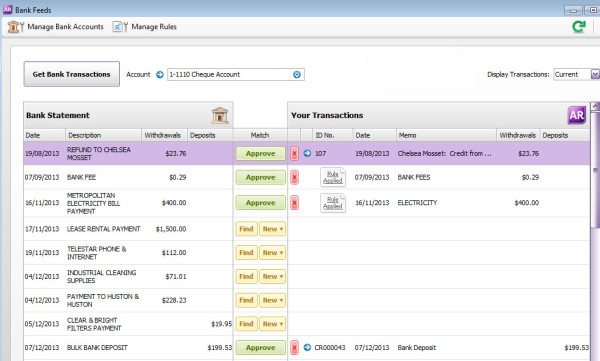 MYOB bank-feeds-screen - guide to online accounting