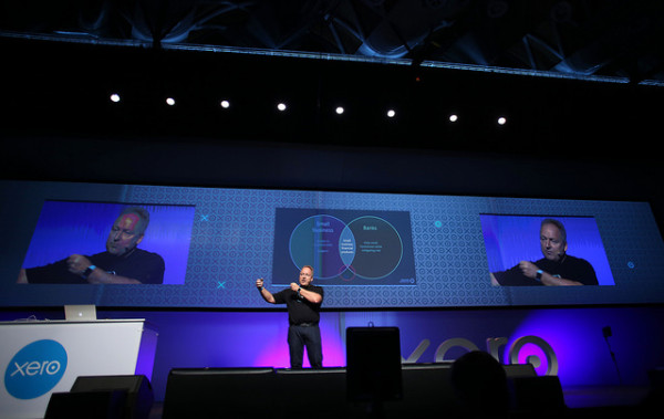 Rod Drury Xero CEO presenting on stage at Xerocon NZ. Online accounting