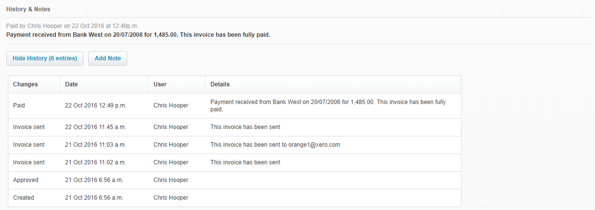 The notes underneath a transaction in Xero provide an audit trail of activity.