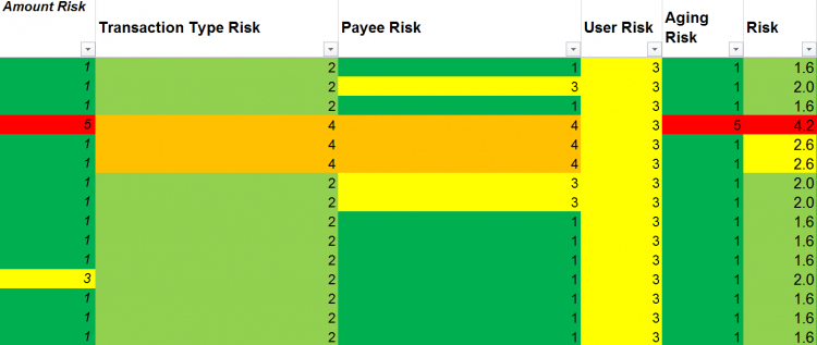The template we use at Accodex to filter out high-risk transactions for further investigation.
