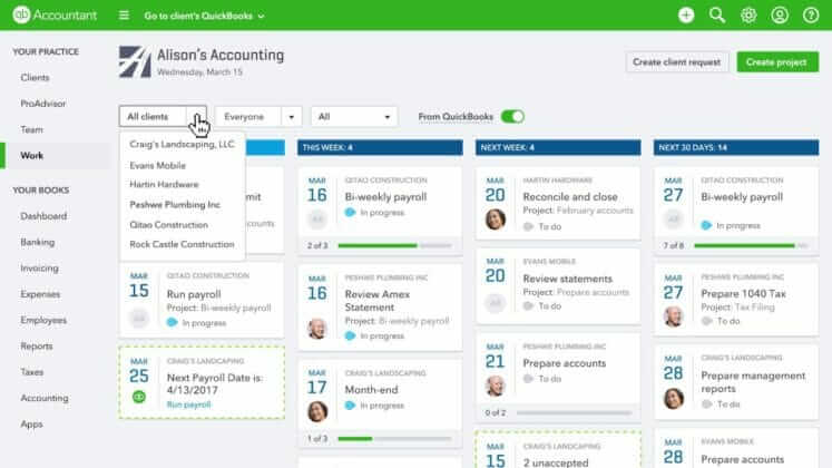 QuickBooks Online Accountant workflow