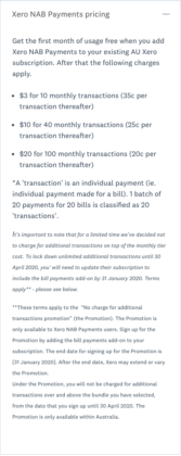 Xero Bill Payments pricing with NAB Bank